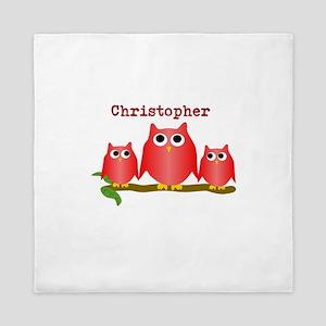 Red Owls Customize Queen Duvet