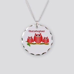 Red Owls Customize Necklace Circle Charm