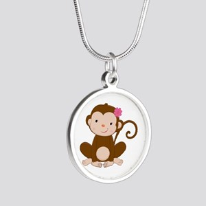 Baby Monkey Silver Round Necklace