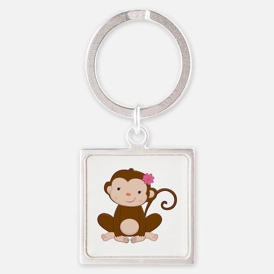 Baby Monkey Square Keychain