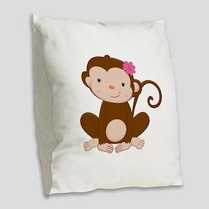 Baby Monkey Burlap Throw Pillow