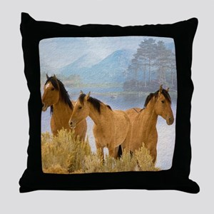 Buckskin Horses Throw Pillow