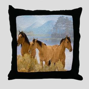 Buckskin Horses Throw Pillow