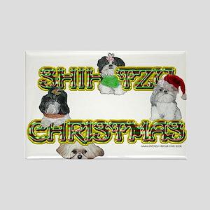 Shih Tzu Christmas Candy Cane Rectangle Magnet