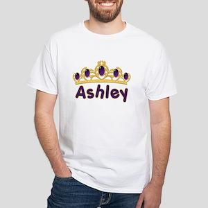 Princess Tiara Ashley Personalized White T-Shirt