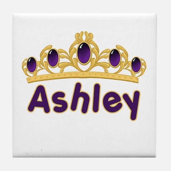 Princess Tiara Ashley Personalized Tile Coaster