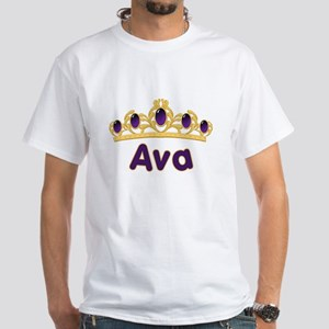 Princess Tiara Ava Personalized White T-Shirt