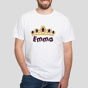 Princess Tiara Emma Personalized White T-Shirt