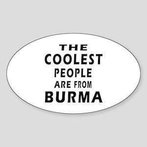 The Coolest Burma Designs Sticker (Oval)