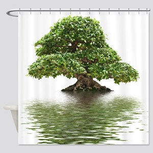 ficus water reflection Shower Curtain