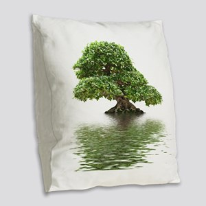 ficus water reflection Burlap Throw Pillow