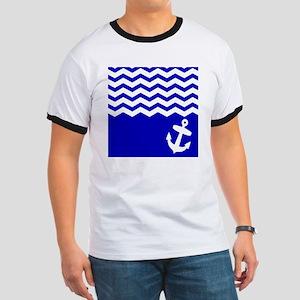 Navy Blue chevron anchor Ringer T