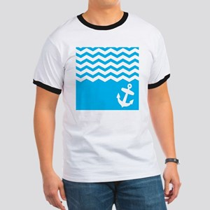 Blue anchor and chevron Ringer T