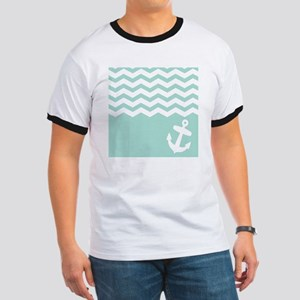 Mint green anchor and chevron Ringer T