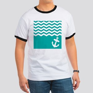 Turquoise anchor and chevron Ringer T