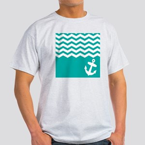 Turquoise anchor and chevron Light T-Shirt
