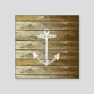 """Anchor on Faux wood Square Sticker 3"""" x 3"""""""