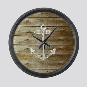 Anchor on Faux wood Large Wall Clock