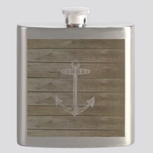 Anchor on Faux wood Flask