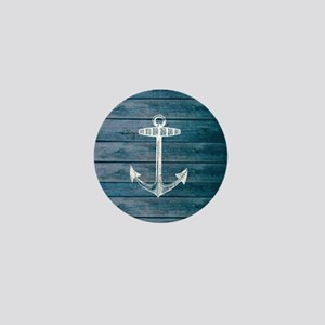 Anchor on Blue faux wood graphic Mini Button