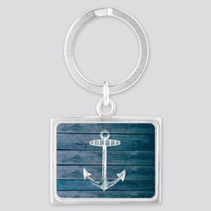 Anchor on Blue faux wood graphi Landscape Keychain