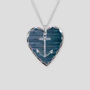 Anchor on Blue faux wood grap Necklace Heart Charm