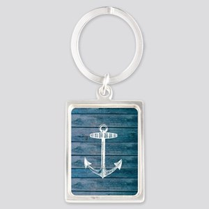 Anchor on Blue faux wood graphic Portrait Keychain