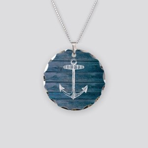 Anchor on Blue faux wood gra Necklace Circle Charm