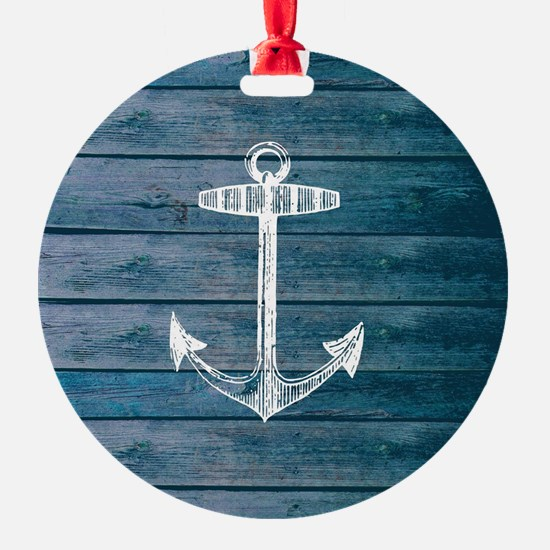 Anchor on Blue faux wood graphic Ornament