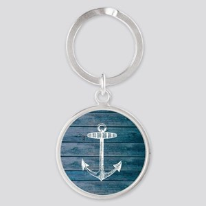 Anchor on Blue faux wood graphic Round Keychain