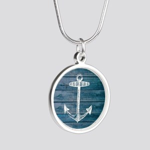 Anchor on Blue faux wood gra Silver Round Necklace