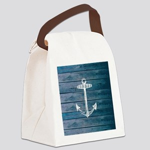 Anchor on Blue faux wood graphic Canvas Lunch Bag