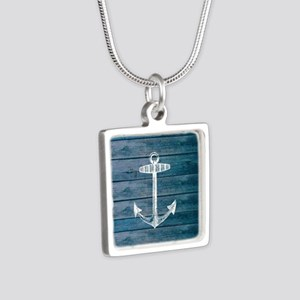 Anchor on Blue faux wood g Silver Square Necklace