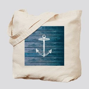 Anchor on Blue faux wood graphic Tote Bag