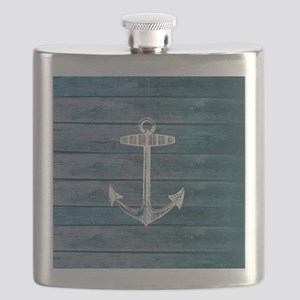 Anchor on Blue faux wood graphic Flask