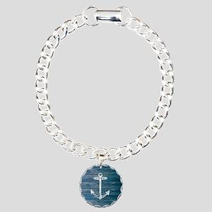 Anchor on Blue faux wood Charm Bracelet, One Charm
