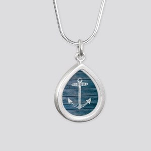 Anchor on Blue faux wood Silver Teardrop Necklace
