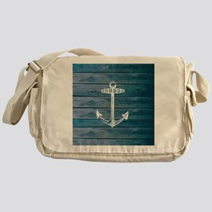 Anchor on Blue faux wood graphic Messenger Bag