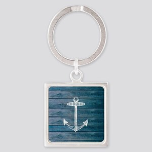 Anchor on Blue faux wood graphic Square Keychain
