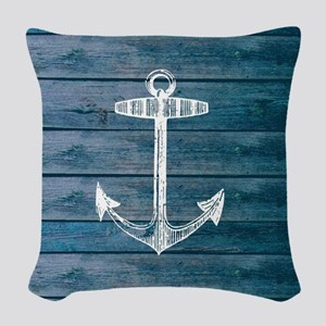 Anchor on Blue faux wood graph Woven Throw Pillow