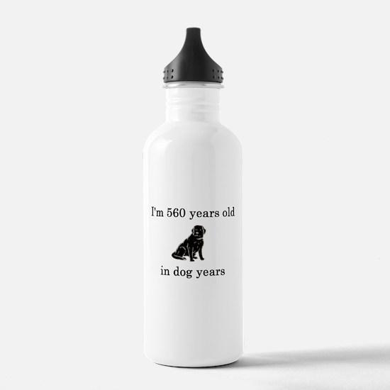 80 birthday dog years lab Water Bottle