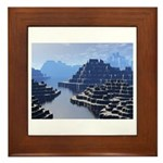 Mysterious Terraced Mountains Framed Tile