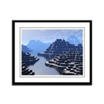 Mysterious Terraced Mountains Framed Panel Print