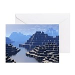 Mysterious Terraced Mountains Greeting Cards (Pk o