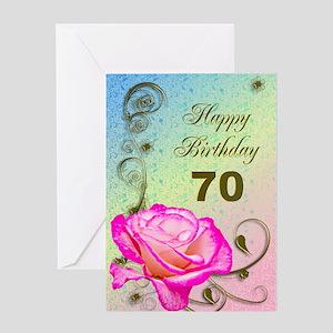 70th Birthday Elegant Rose Greeting Card