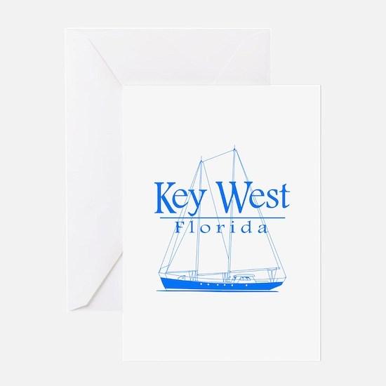 Key West Sailing Blue Greeting Card