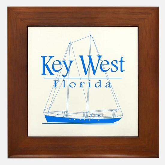 Key West Sailing Blue Framed Tile