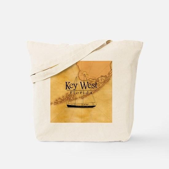 Key West Sailing Map Tote Bag