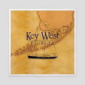 Key West Sailing Map Queen Duvet