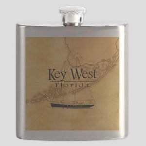 Key West Sailing Map Flask